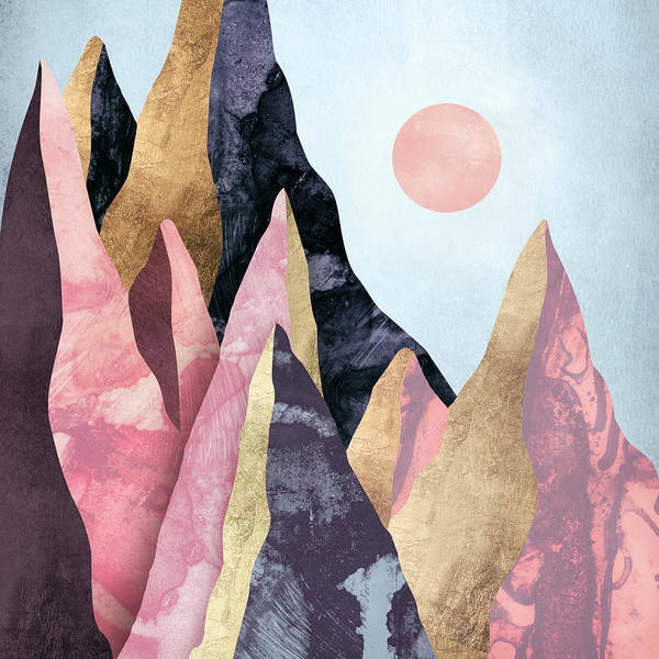 Peak Digital Art - Mauve Peaks by Spacefrog Designs