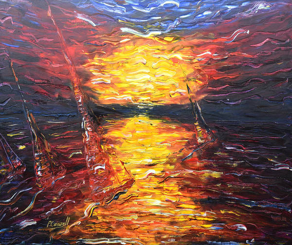 Painting - Mauve Sailing Sunset by Pete Caswell