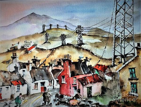 Pylon Painting - F 723 And Now For Fibre Optic B And B by Val Byrne
