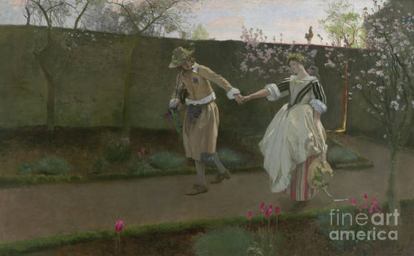 Skipping Painting - May Day Morning by Edwin Austin Abbey