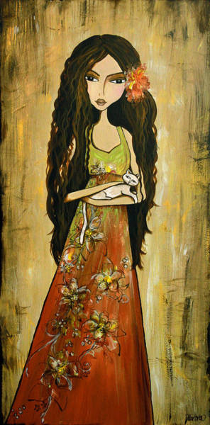 Wall Art - Painting - Maya And The Cat by Debbie Gallerani