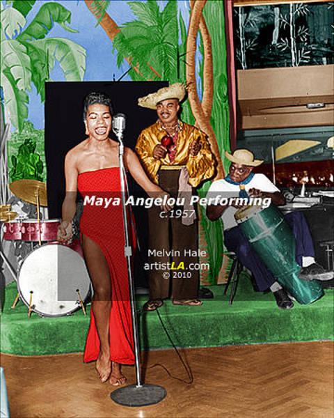 Wall Art - Painting - Maya Angelou Performing C1957 by Melvin Hale ArtistLA