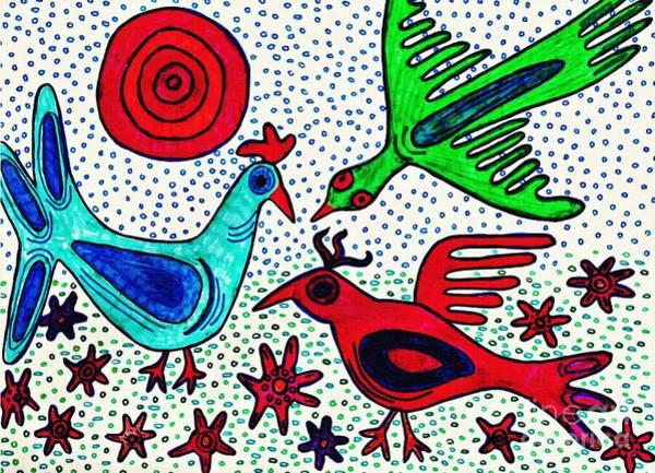 Aqua Drawing - Mayan Birds by Sarah Loft