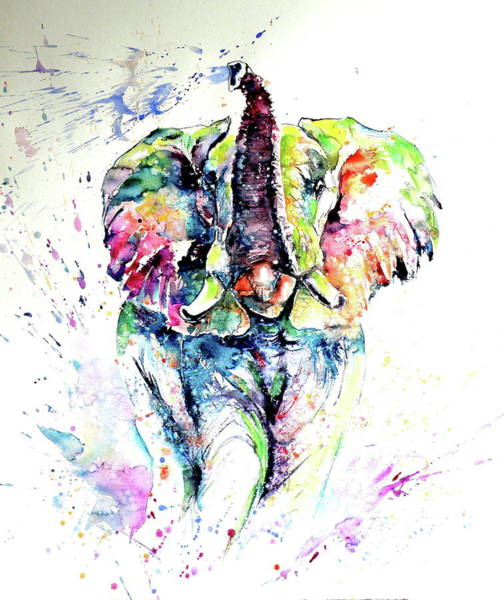 Wall Art - Painting - Mayestic Colorful Elephant Playing Light by Kovacs Anna Brigitta