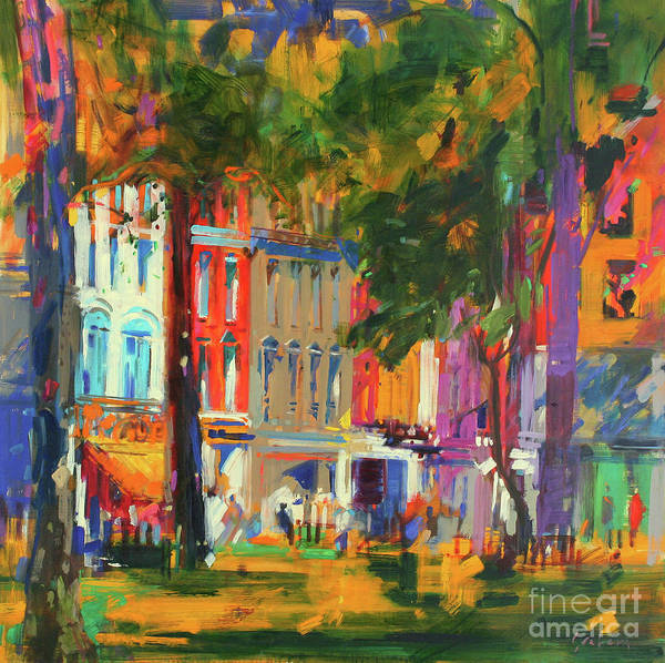 Town Square Wall Art - Painting - Mayfair by Peter Graham
