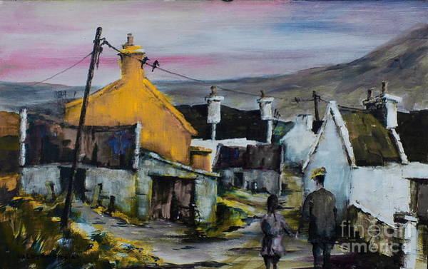Painting - Mayo.. Achill.. Evening Stroll In Dugort  by Val Byrne
