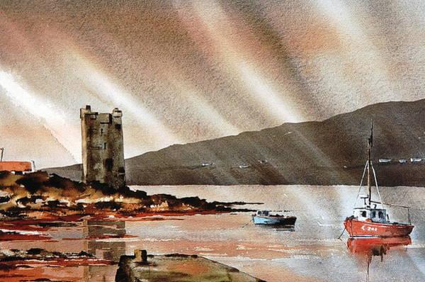 Painting - Mayo... Achill,graneuails Caste Kildavnet by Val Byrne
