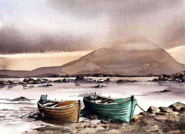 Painting - Mayo.... Evening Clouds On Neiphin by Val Byrne