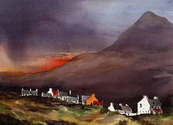 Painting - Mayo... Slievemore Achill Dougort by Val Byrne