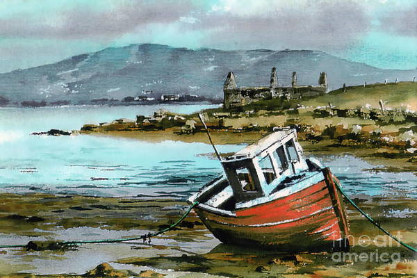 Painting - Mayo..red Boat At Coraun. by Val Byrne