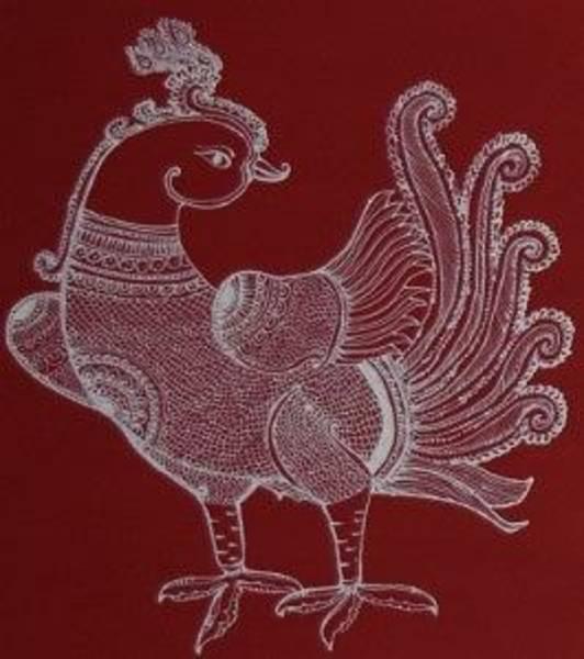 Kalamkari Painting - Mayur - Red by M Ande