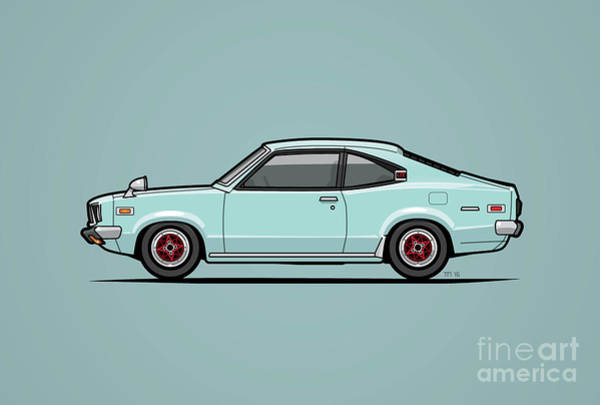 Wall Art - Digital Art - Mazda Savanna Gt Rx-3 Baby Blue by Monkey Crisis On Mars