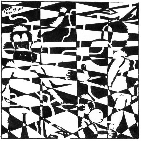 Checker Drawing - Maze Memoirs Of The Invisible Monkeys by Yonatan Frimer Maze Artist