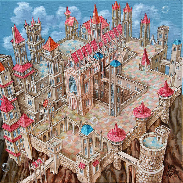 Painting - Mc Escher City by Victor Molev