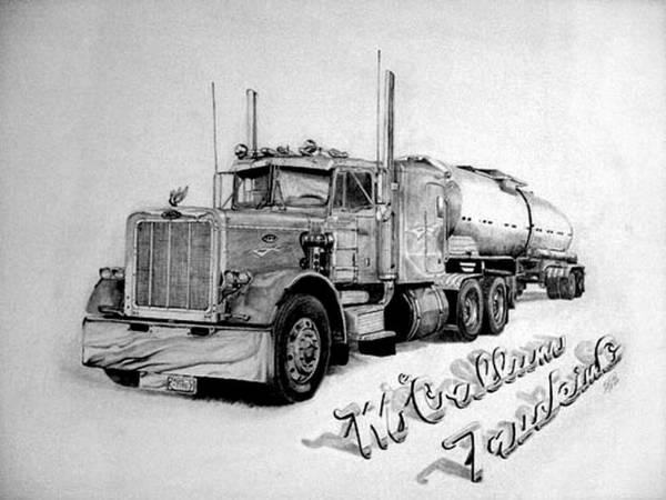 Semi Truck Drawing - Mccallum Trucking by Dean Herbert
