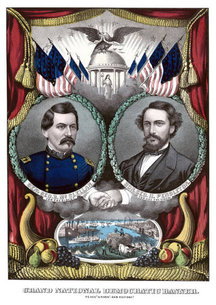 Election Wall Art - Painting - Mcclellan And Pendleton Campaign Poster by War Is Hell Store