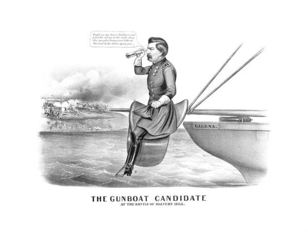 United States Drawing - Mcclellan The Gunboat Candidate by War Is Hell Store