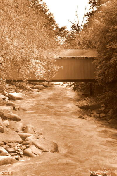 Photograph - Mcconnells Mill Covered Bridge Sepia by Lisa Wooten