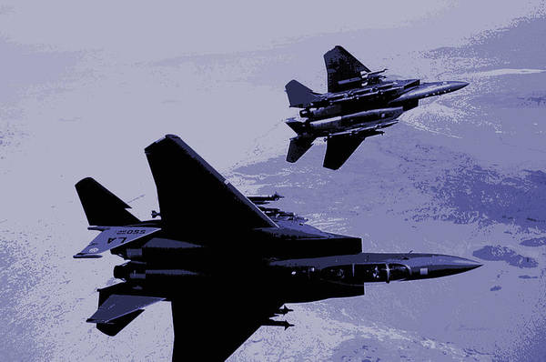 Wall Art - Photograph -  Mcdonnell Douglas F-15 Eagles In Action Darker Less Contrast by L Brown
