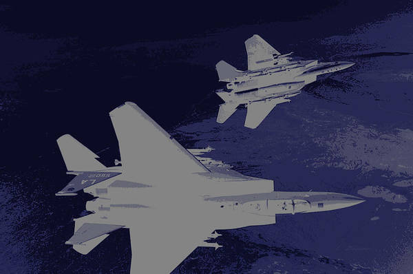 Wall Art - Photograph - Mcdonnell Douglas F-15 Eagles On A Dangerous Night Mission by L Brown