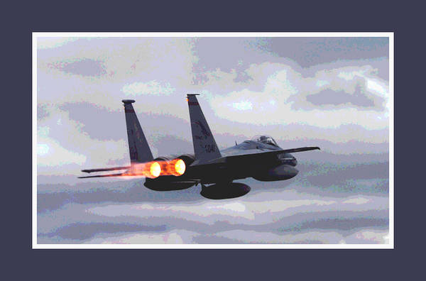 Wall Art - Photograph - Mcdonnell Douglas F-15 Strike Eagle In Action With Afterburners Double Border by L Brown