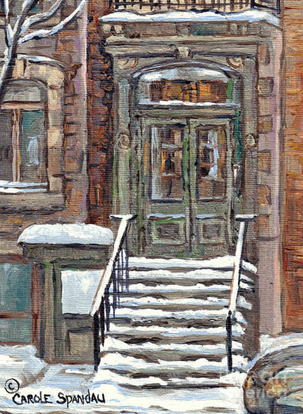 Painting - Mcgill Ghetto Green Door Brownstone Winter Staircase Painting For Sale C Spandau Milton Park Scenes  by Carole Spandau