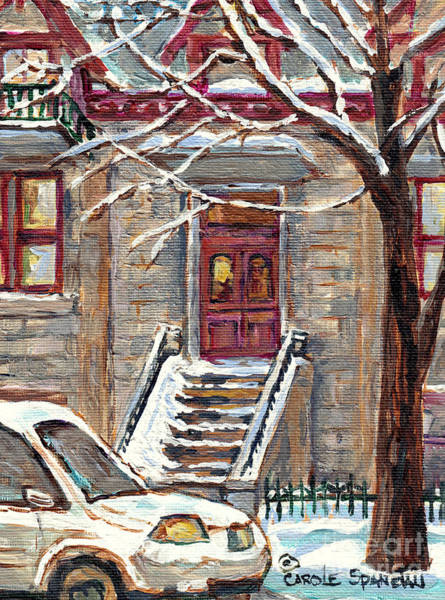 Painting - Mcgill Ghetto Red Door Brownstone Duplex Winterscene Painting For Sale Milton Park C Spandau Artist  by Carole Spandau