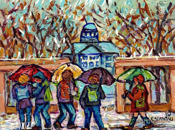 Painting - Mcgill University Canadian Painting Rainy Day Roddick Gates Montreal Scenes C Spandau Quebec Art     by Carole Spandau