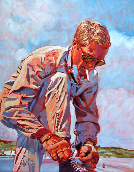 Le Mans 24 Wall Art - Painting - Mcqueen Cool - Steve Mcqueen by David Lloyd Glover