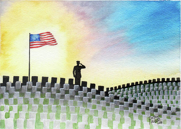 Painting - M C U Memorial Salute by Betsy Hackett