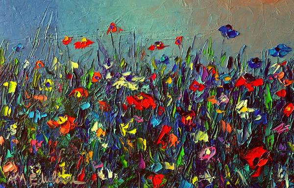 Wall Art - Painting - Meadow Dawn Colorful Wildflowers Abstract Impressionism Impasto Knife Painting By Ana Maria Edulescu by Ana Maria Edulescu