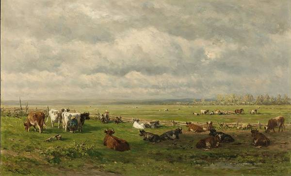 Wall Art - Painting - Meadow Landscape With Cattle,  by Willem Roelofs