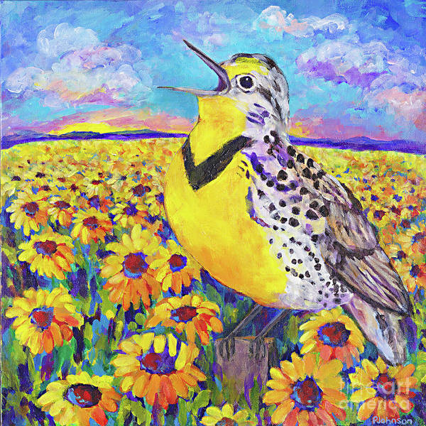 Meadowlark Painting - Meadowlark Song By Peggy Johnson by Peggy Johnson