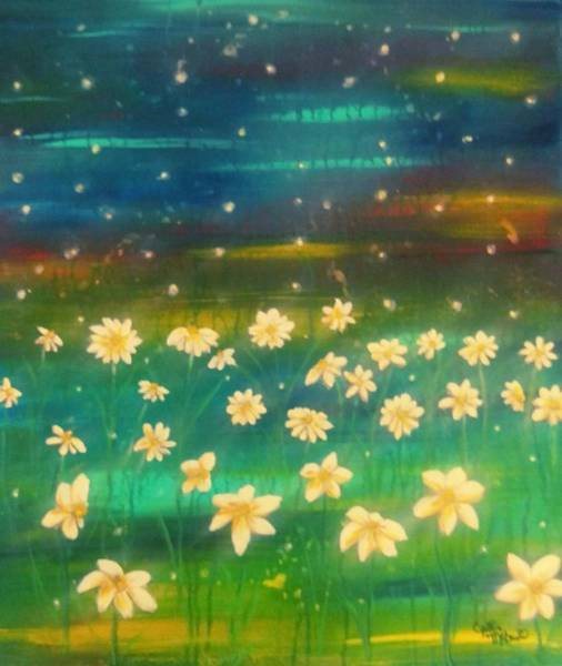 Lightening Painting - Meadows And Fireflies by Cynthia McDonald