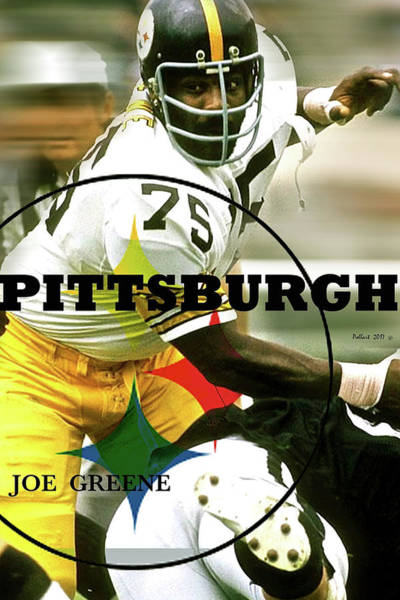 Wallpaper Mixed Media - Mean Joe Green, Pittsburgh Steelers by Thomas Pollart