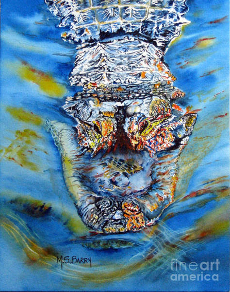 Gator Wall Art - Painting - Mean Machine by Maria Barry