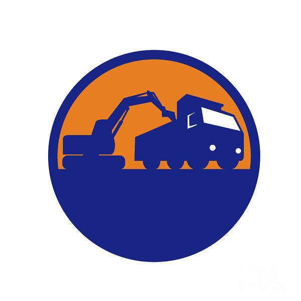 Dump Truck Digital Art - Mechanical Digger Loading Dump Truck Circle Retro by Aloysius Patrimonio