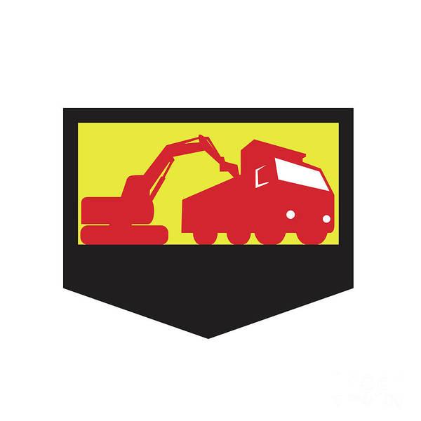 Dump Truck Digital Art - Mechanical Digger Loading Dump Truck Shield Retro by Aloysius Patrimonio