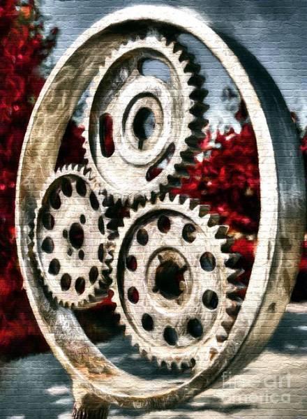 Photograph - Mechanical Flowers On Bricks by Mel Steinhauer