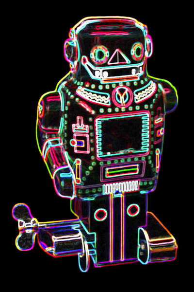 Neon Digital Art - Mechanical Mighty Sparking Robot by DB Artist