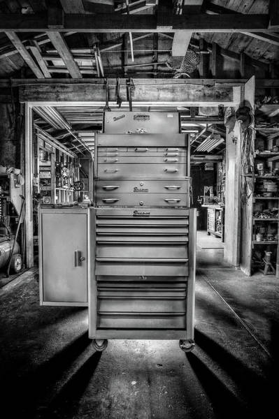 Wall Art - Photograph - Mechanics Toolbox Cabinet Stack In Garage Shop In Bw by YoPedro