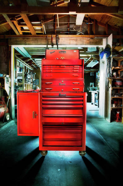 Wall Art - Photograph - Mechanics Toolbox Cabinet Stack In Garage Shop by YoPedro