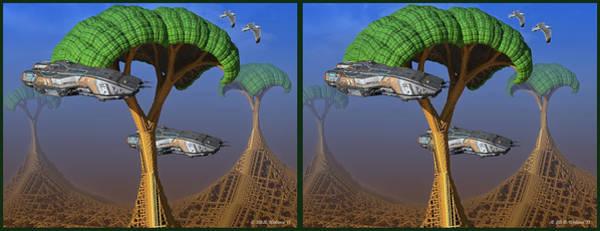 Stereoscopy Digital Art - Mechanized World - 3d Stereo Crossview by Brian Wallace