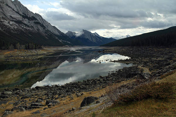 Photograph - Medecine Lake In Jasper On A Cloudy Day by Pierre Leclerc Photography