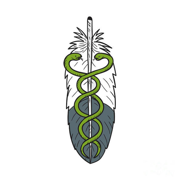Feathered Serpent Digital Art - Medical Snake Eagle Feather Drawing by Aloysius Patrimonio