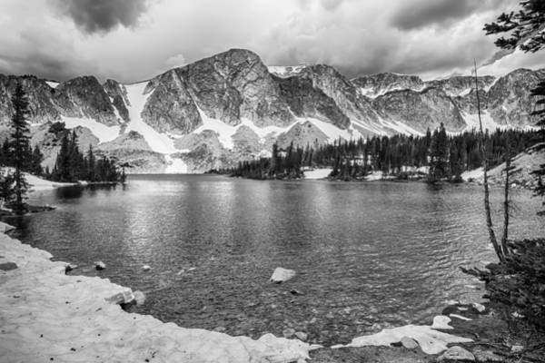 Photograph - Medicine Bow Lake View In Black And White by James BO Insogna