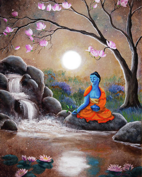 Tibetan Painting - Medicine Buddha By A Waterfall by Laura Iverson