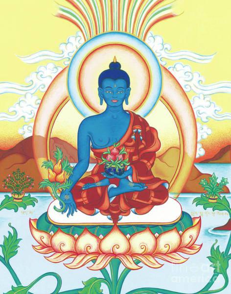 Thangka Painting - Medicine Buddha by Carmen Mensink
