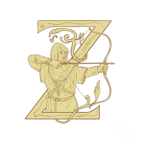 Wall Art - Digital Art - Medieval Archar Aiming Bow And Arrow Letter Z Drawing by Aloysius Patrimonio