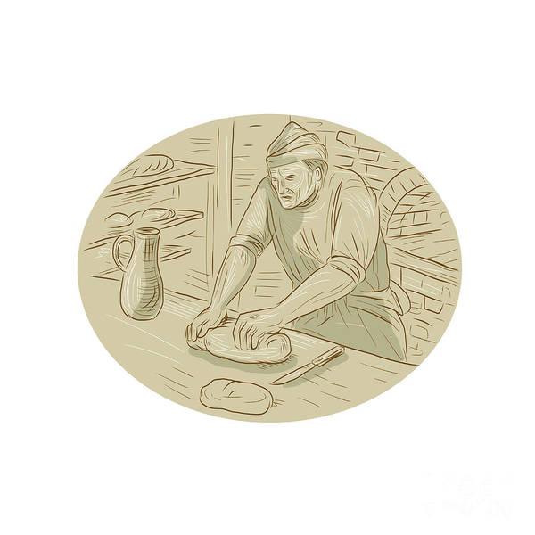 Jug Digital Art - Medieval Baker Kneading Bread Dough Oval Drawing by Aloysius Patrimonio